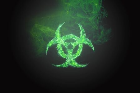 Green Biohazard Symbol on Black Background. Sign of biological hazard. The concept of chemical waste, pollution of the nature, radiation waste. Stockfoto - 126908155
