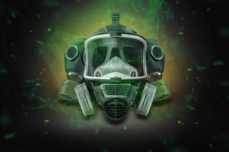 Gas mask, respirator on a black background. Biological waste. The concept of chemical waste, pollution of nature, toxins. 3D render, 3D illustration.