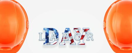 Flyer, Labor day sale promotion advertising. American labor day wallpaper. Discount, Design template. Copy space. Stock Photo