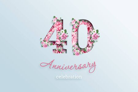 Creative background, the inscription 40 number and anniversary celebration textis flowers, on a light background. Anniversary concept, birthday, celebration event, template, flyer.