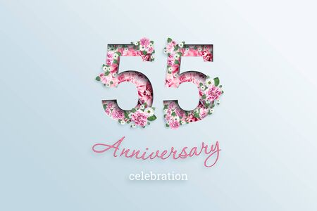 Creative background, the inscription 55 number and anniversary celebration textis flowers, on a light background. Anniversary concept, birthday, celebration event, template, flyer.