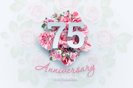 Creative background lettering 75 numbers and anniversary celebration text on pink flowers background. Anniversary concept, birthday, celebration event, template, flyer.