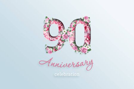 Creative background, the inscription 90 number and anniversary celebration textis flowers, on a light background. Anniversary concept, birthday, celebration event, template, flyer. Banco de Imagens