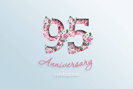 Creative background, the inscription 95 number and anniversary celebration textis flowers, on a light background. Anniversary concept, birthday, celebration event, template, flyer. Banco de Imagens