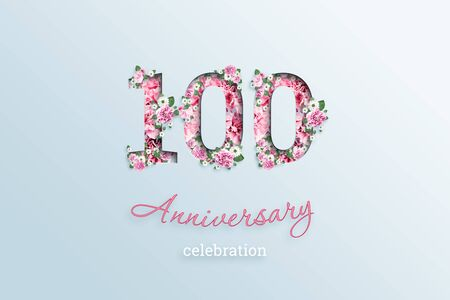 Creative background, the inscription 100 number and anniversary celebration textis flowers, on a light background. Anniversary concept, birthday, celebration event, template, flyer.