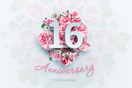 Creative background lettering 16 numbers and anniversary celebration text on pink flowers background. Anniversary concept, birthday, celebration event, template, flyer.
