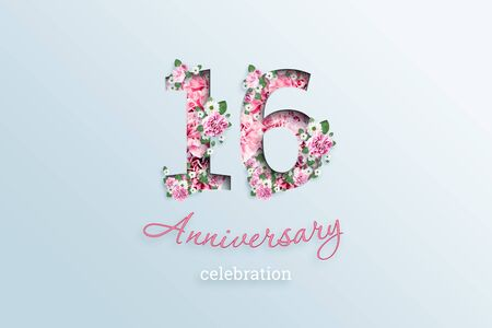 Creative background, the inscription 16 number and anniversary celebration textis flowers, on a light background. Anniversary concept, birthday, coming of age, event celebration, template, flyer.