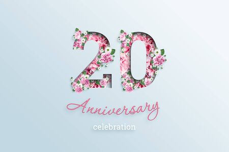 Creative background, the inscription 20 number and anniversary celebration textis flowers, on a light background. Anniversary concept, birthday, celebration event, template, flyer.