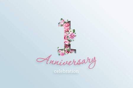 Creative background, the inscription 1 number and anniversary celebration textis flowers, on a light background. Anniversary concept, birthday, celebration event, template, flyer.