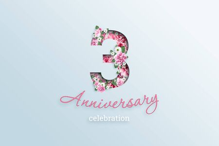 Creative background, the inscription 3 number and anniversary celebration textis flowers, on a light background. Anniversary concept, birthday, celebration event, template, flyer. Banco de Imagens