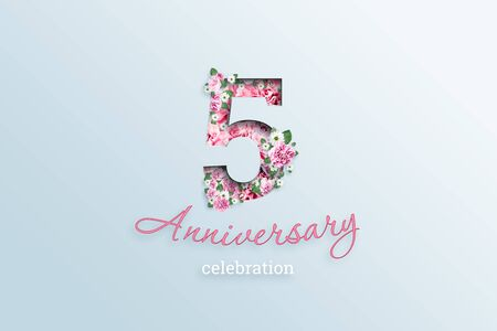 Creative background, the inscription 5 number and anniversary celebration textis flowers, on a light background. Anniversary concept, birthday, celebration event, template, flyer.