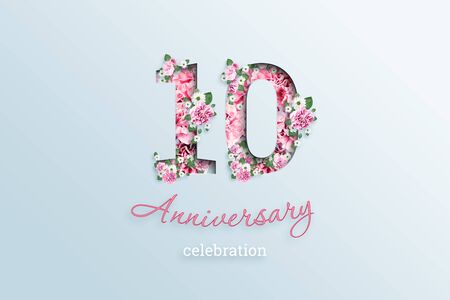 Creative background, the inscription 10 number and anniversary celebration textis flowers, on a light background. Anniversary concept, birthday, celebration event, template, flyer.