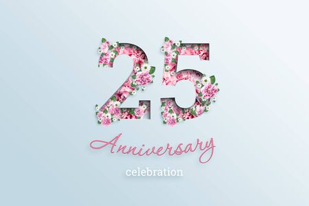 Creative background, the inscription 25 number and anniversary celebration textis flowers, on a light background. Anniversary concept, birthday, celebration event, template, flyer. Banco de Imagens