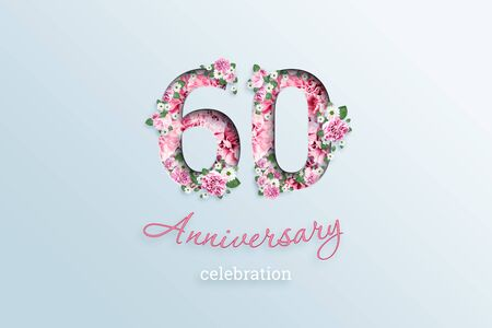 Creative background, the inscription 60number and anniversary celebration textis flowers, on a light background. Anniversary concept, birthday, celebration event, template, flyer. Banco de Imagens