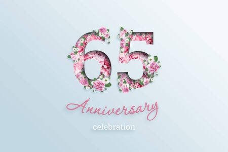 Creative background, the inscription 65 number and anniversary celebration textis flowers, on a light background. Anniversary concept, birthday, celebration event, template, flyer.