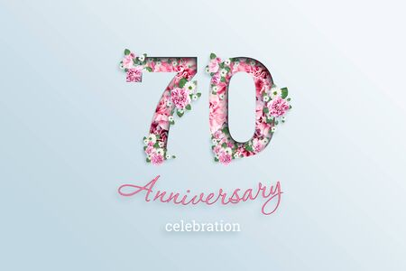 Creative background, the inscription 70 number and anniversary celebration textis flowers, on a light background. Anniversary concept, birthday, celebration event, template, flyer.