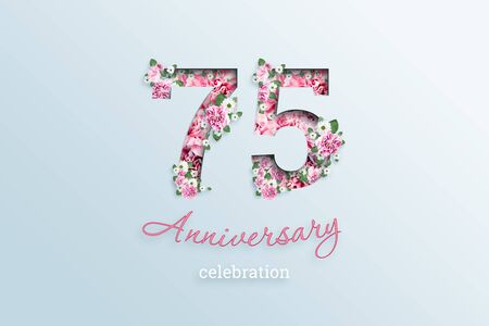 Creative background, the inscription 75 number and anniversary celebration textis flowers, on a light background. Anniversary concept, birthday, celebration event, template, flyer. Banco de Imagens