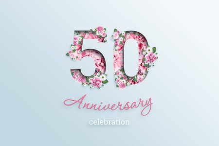 Creative background, the inscription 50 number and anniversary celebration textis flowers, on a light background. Anniversary concept, birthday, celebration event, template, flyer.
