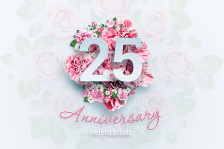 Creative background lettering 25 numbers and anniversary celebration text on pink flowers background. Anniversary concept, birthday, celebration event, template, flyer. Banco de Imagens