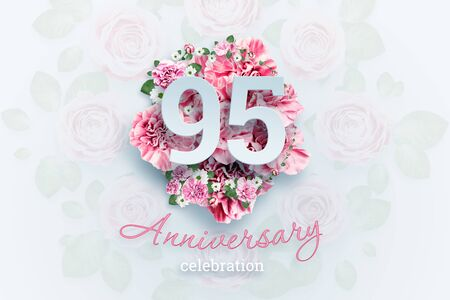 Creative background lettering 95 numbers and anniversary celebration text on pink flowers background. Anniversary concept, birthday, celebration event, template, flyer. Banco de Imagens