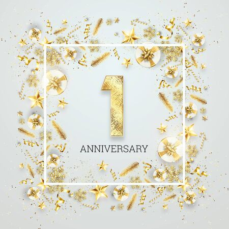 Creative background, 1th anniversary. Celebration of golden text and confetti on a light background with numbers, frame. Anniversary celebration template, flyer. 3D illustration, 3D render. Banco de Imagens