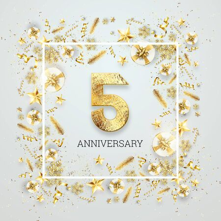 Creative background, 5th anniversary. Celebration of golden text and confetti on a light background with numbers, frame. Anniversary celebration template, flyer. 3D illustration, 3D render.