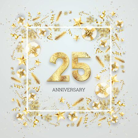 Creative background, 25th anniversary. Celebration of golden text and confetti on a light background with numbers, frame. Anniversary celebration template, flyer. 3D illustration, 3D render.