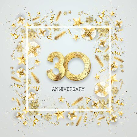 Creative background, 30th anniversary. Celebration of golden text and confetti on a light background with numbers, frame. Anniversary celebration template, flyer. 3D illustration, 3D render. Banco de Imagens