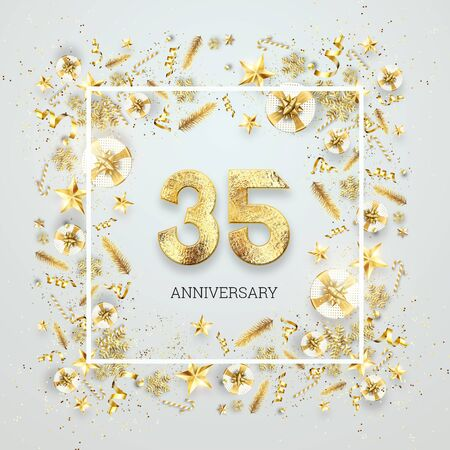 Creative background, 35th anniversary. Celebration of golden text and confetti on a light background with numbers, frame. Anniversary celebration template, flyer. 3D illustration, 3D render. Banco de Imagens
