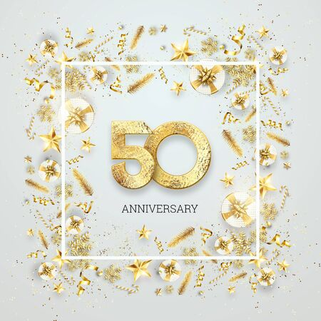 Creative background, 50th anniversary. Celebration of golden text and confetti on a light background with numbers, frame. Anniversary celebration template, flyer. 3D illustration, 3D render.