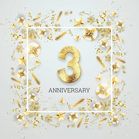 Creative background, 3th anniversary. Celebration of golden text and confetti on a light background with numbers, frame. Anniversary celebration template, flyer. 3D illustration, 3D render.