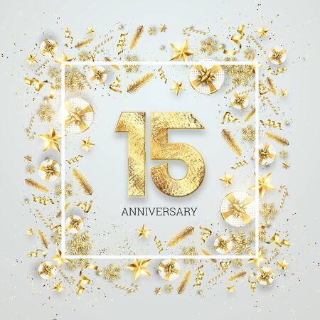Creative background, 15th anniversary. Celebration of golden text and confetti on a light background with numbers, frame. Anniversary celebration template, flyer. 3D illustration, 3D render. Banco de Imagens