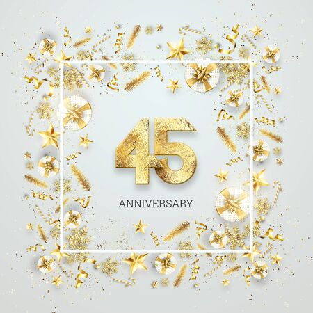 Creative background, 45th anniversary. Celebration of golden text and confetti on a light background with numbers, frame. Anniversary celebration template, flyer. 3D illustration, 3D render. Banco de Imagens