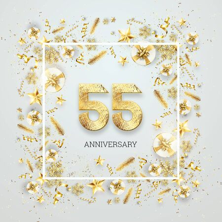 Creative background, 55th anniversary. Celebration of golden text and confetti on a light background with numbers, frame. Anniversary celebration template, flyer. 3D illustration, 3D render.