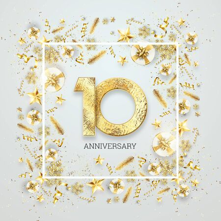 Creative background, 10th anniversary. Celebration of golden text and confetti on a light background with numbers, frame. Anniversary celebration template, flyer. 3D illustration, 3D render. Banco de Imagens
