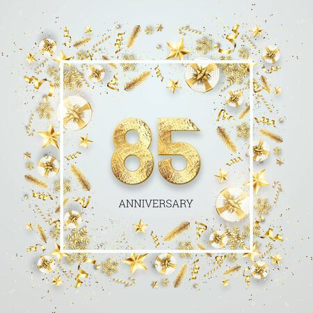 Creative background, 85th anniversary. Celebration of golden text and confetti on a light background with numbers, frame. Anniversary celebration template, flyer. 3D illustration, 3D render. Banco de Imagens