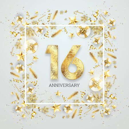 Creative background, 16th anniversary, adulthood. Celebration of golden text and confetti on a light background with numbers, frame. Anniversary celebration template, flyer. 3D illustration, 3D render.