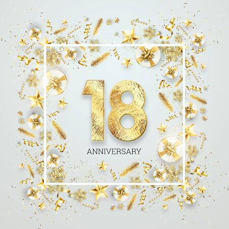 Creative background, 18th anniversary, adulthood. Celebration of golden text and confetti on a light background with numbers, frame. Anniversary celebration template, flyer. 3D illustration, 3D render.