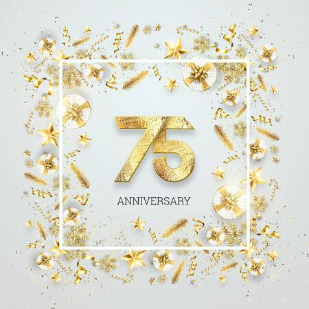 Creative background, 75th anniversary. Celebration of golden text and confetti on a light background with numbers, frame. Anniversary celebration template, flyer. 3D illustration, 3D render.