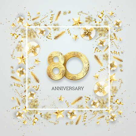 Creative background, 80th anniversary. Celebration of golden text and confetti on a light background with numbers, frame. Anniversary celebration template, flyer. 3D illustration, 3D render.