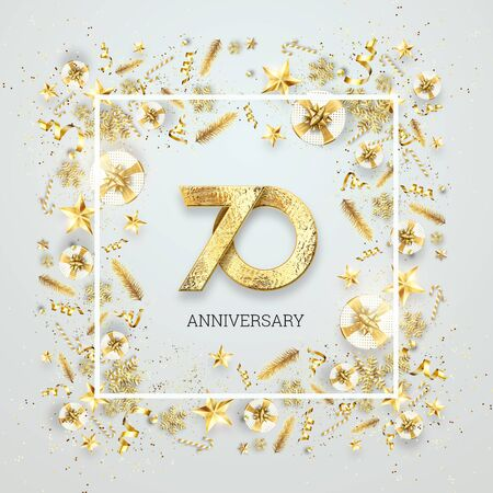 Creative background, 70th anniversary. Celebration of golden text and confetti on a light background with numbers, frame. Anniversary celebration template, flyer. 3D illustration, 3D render. Banco de Imagens