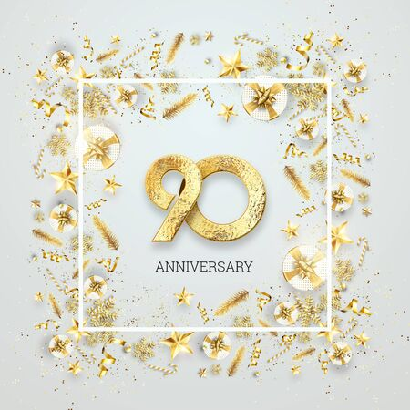 Creative background, 90th anniversary. Celebration of golden text and confetti on a light background with numbers, frame. Anniversary celebration template, flyer. 3D illustration, 3D render.