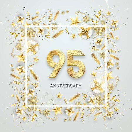Creative background, 95th anniversary. Celebration of golden text and confetti on a light background with numbers, frame. Anniversary celebration template, flyer. 3D illustration, 3D render. Banco de Imagens