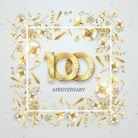 Creative background, 100th anniversary. Celebration of golden text and confetti on a light background with numbers, frame. Anniversary celebration template, flyer. 3D illustration, 3D render. Banco de Imagens