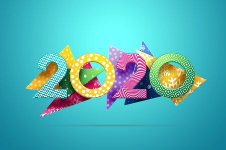 Creative background, numbers 2020 multi-colored on a background of abstract shapes, on a blue background. Happy New Year, year of the rat, flyer, poster. 3D illustration, 3D design. Фото со стока