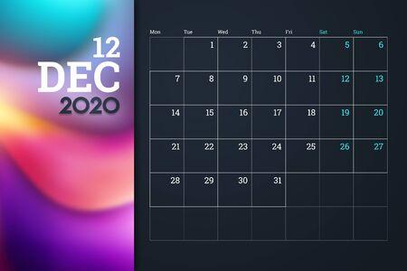 Calendar 2020, Month December, desk calendar design template with place for company. A4 horizontal orientation.
