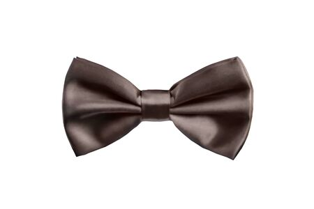 Brown bow tie for satin fabric tuxedo isolated on white background