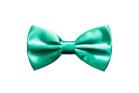 Turquoise bow tie for satin fabric tuxedo isolated on white background