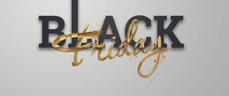 Black friday sale inscription golden letters on a light background, horizontal banner, design template. Copy space, creative background. 3D illustration, 3D design