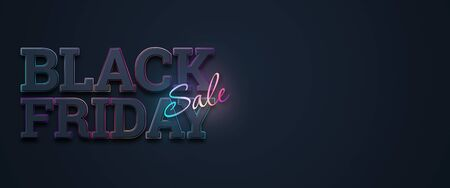 Black friday sale inscription neon letters on a dark background, horizontal banner, design template. Copy space, creative background. 3D illustration, 3D design